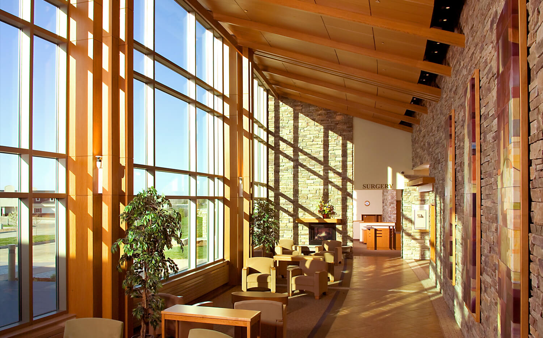 Front lobby area of brick health center