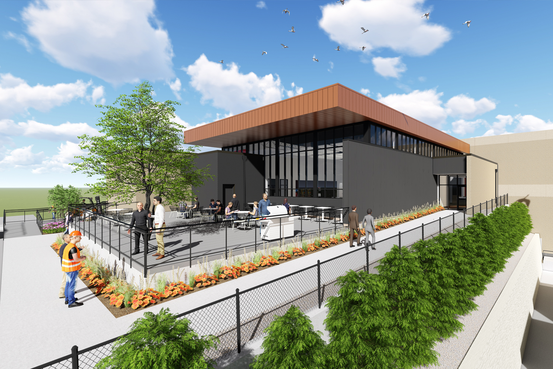 Exterior digital design rendering of Diamond Vogel Paints, Power Plant
