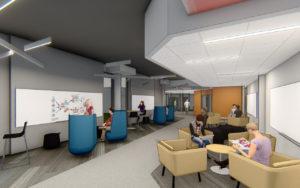 Digital design rendering of University of Iowa, College of Education interior commons area