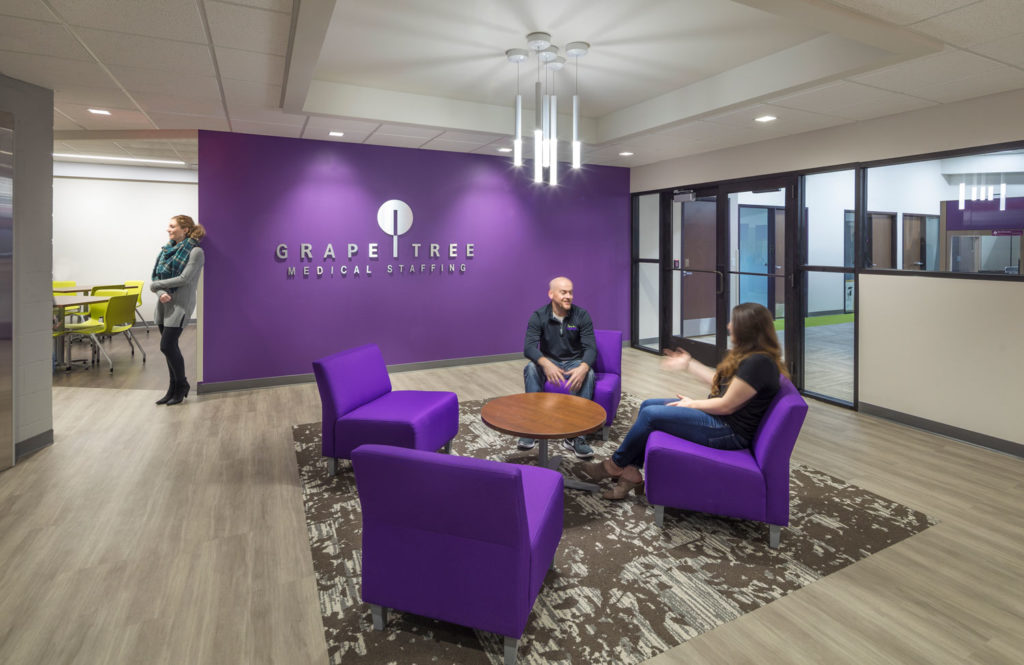 Lobby of Grape Tree Medical Staffing building