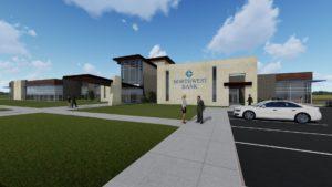 Digital design rendering of Northwestern Bank, Corporate Office Building Exterior