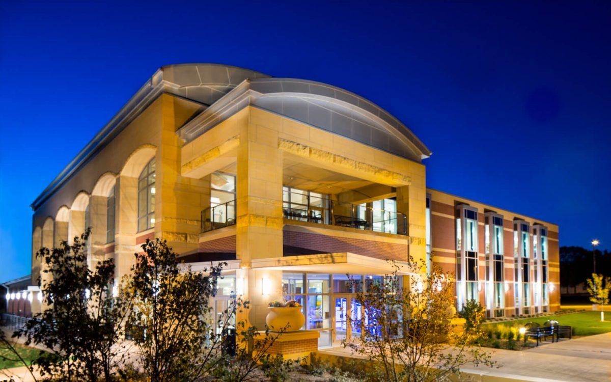 cmba-architects-portfolio-learning-commons-exterior-dusk